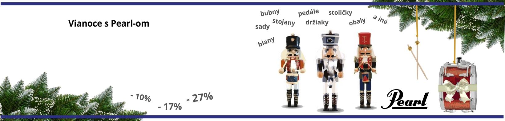 Vianoce so značkou Pearl - zľavy až do 27% na bubny, blany, sady, pedále, stojany, držiaky, obaly a iné pre bubeníkov